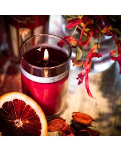 italian blood orange petal topped candle
